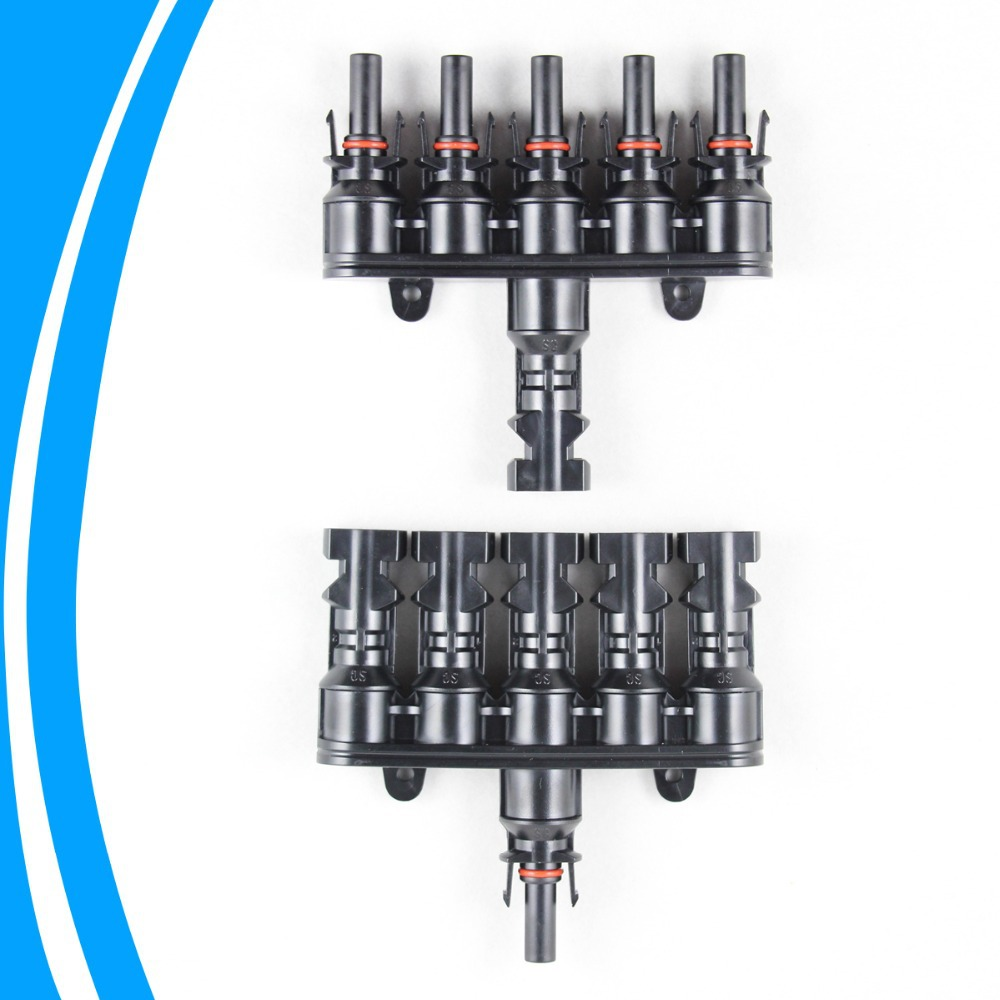 1 pair M/FM Solar Panel MC4 5 to 1 T Branch 30A Solar Panel Connector Cable Coupler Combiner  MC4 Panel Cable Connectors