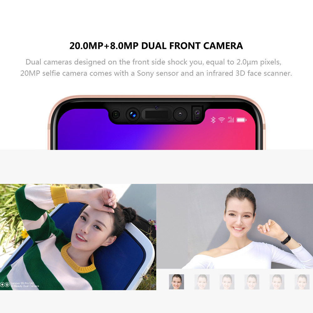 Global Version Lenovo S5 Pro 20MP Four-cams 6GB 64GB Mobile Phone 6.2inch FHD 1080P Snapdragon 636 8-core 3500mAh 4G Smartphone