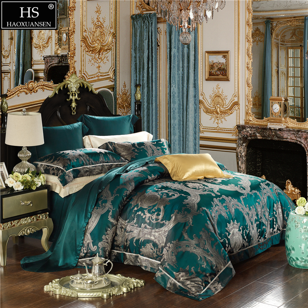 Atmospheric Paisley Yarn Dyed Jacquard 4pcs Bedding Sets 100% 24.5 Momme Pure Long Stranded Mulberry Silk King Size Bedroom Set