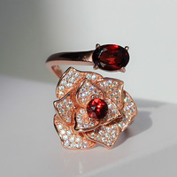 Natural Garnet Ring 925 Sterling silver Gem CZ Fashion Fine Elegant Woman Jewelry Birthstone Love Camellia Rose Valentine Gift