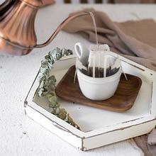 Bandeja de madera hexágono Sweetgo estilo blanco Vintage mesa de pastel de Magdalena hecha a mano decoración de postre maquillaje joyas titular bandejas de anillo