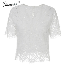 Simplee Sexy hollow out lace blouse shirt women Elegant o neck short sleeve fringe white blouse 2018 Summer transparent blouse