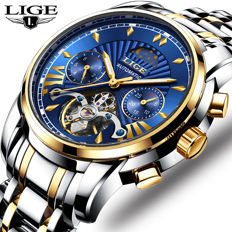 LIGE 2019 New Top fashion Men Automatic Mechanical Watch Luxury Tourbillon Sport MaleWaterproof Date Watches Relogio Masculino