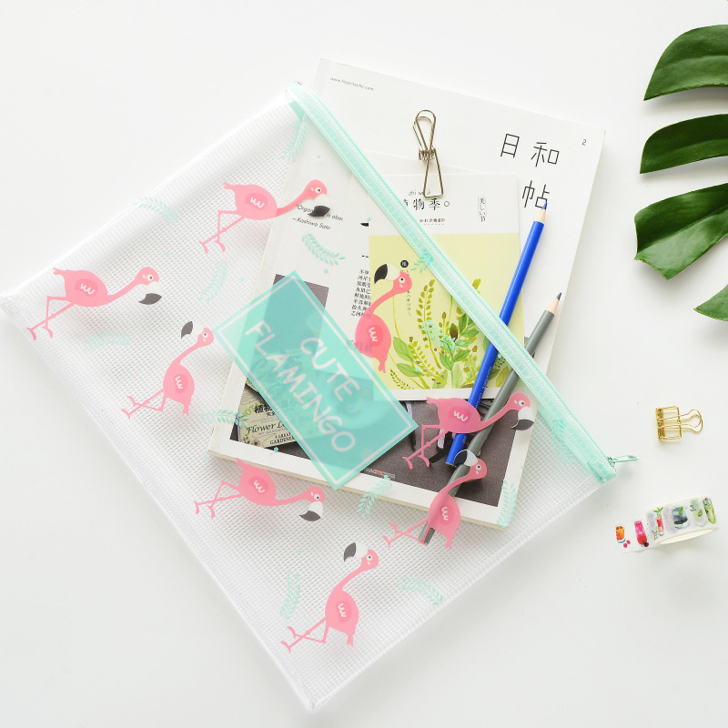 G3-41 Fresh Flamingos Flat Pen Pencil Bag Case File Bag Folder Storage For Papers Stationery