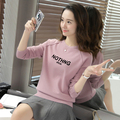 Korea ladies pullover sweater with letter printed o-neck female spring and autumn fall clothing pink black ivory off white