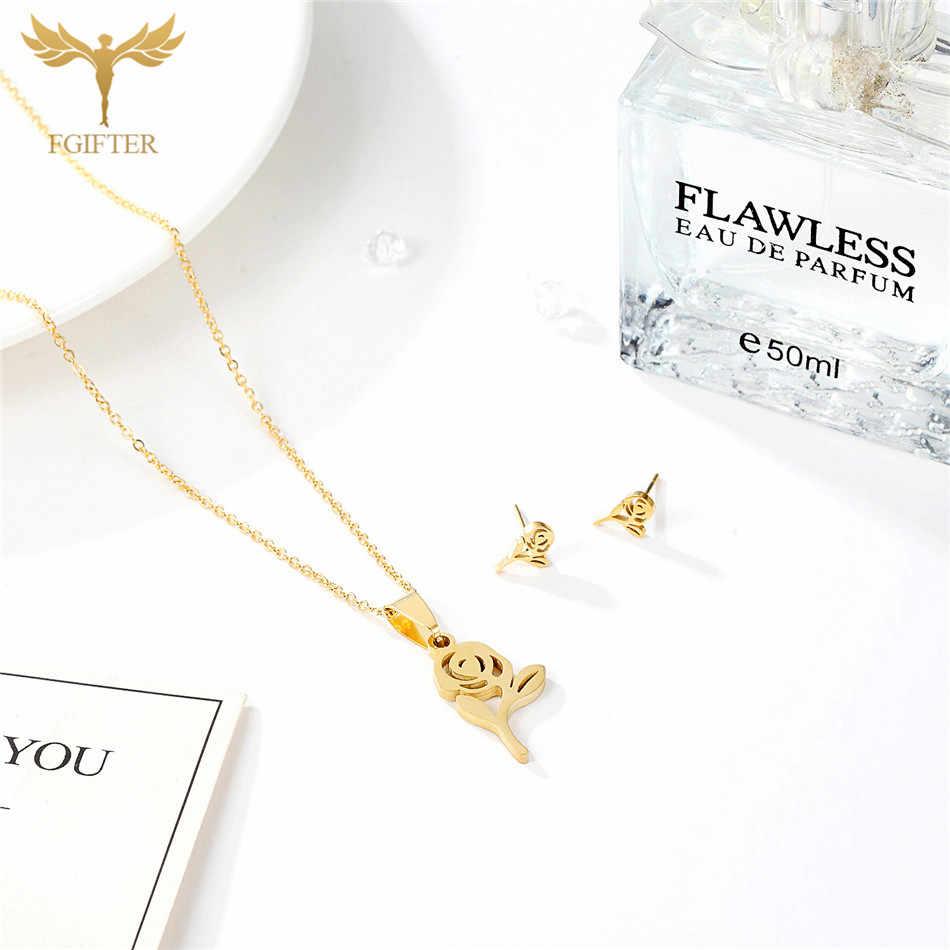 FGifter Cute Rose Flower Jewellery Set for Women Fine Hollow Design Golden Stainless Steel Earrings Pendant Necklace Woman Gift