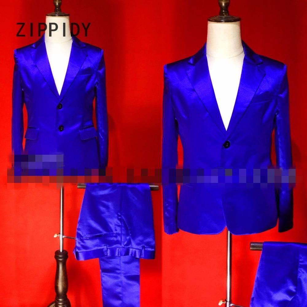 Veste Gamme De Pink Costume Réfléchissant Suit Nouveau Chanteur Pantalon Dj Rose Ou Satin Haut Et Ensemble Bar Set Bleu Stage Set Hommes Mâle Discothèque Show Tenue blue lcK5uFT1J3