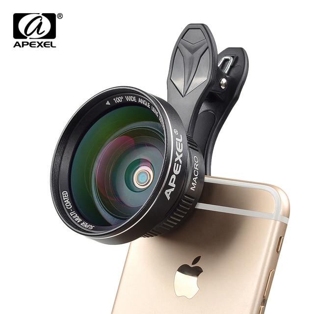 0.63x apexel 2 en 1 clip-on lente ojo de pez + 12.5x lente macro + 37mm hilo clip de soporte, teléfono celular lente de la cámara kit 0.63wm