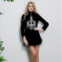 High Quality 2017 Designer Dress Women's Winter New gorgeous Diamonds Beading Vintage Black Velvet Dress Free Shipping
