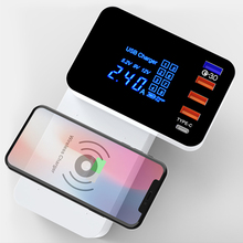 5 Port Smart USB Charger Type C Station Quick Charger 3.0 Led Display QI Wireless Charge Fast Charging Power Adapter Desktop quick charge smart mobile usb charger socket 3port usb type c fast charging charger wall power adapter led display desktop strip
