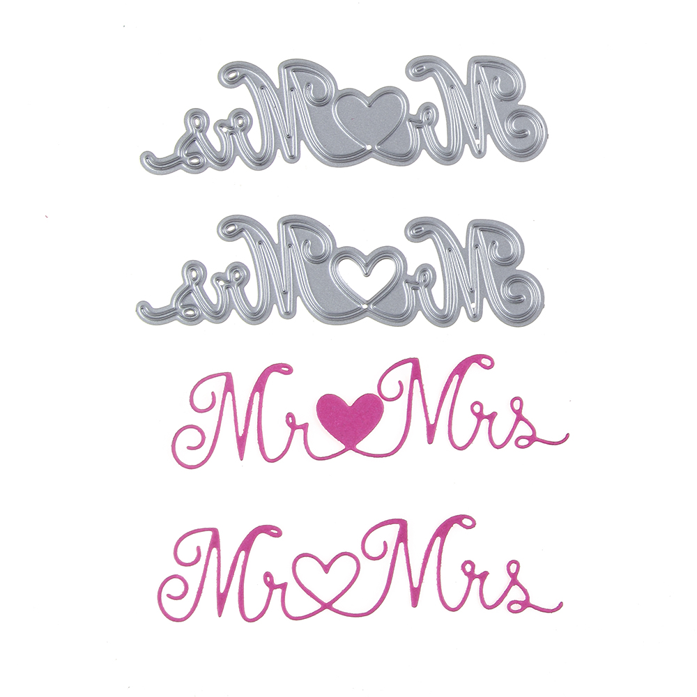 89*25mm scrapbooking DIY cute 2pcs mr love mrs shape steel cutting die sweet wedding Book photo album art card cake Dies Cut