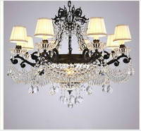 Free Shipping European Black Vintage Crystal Chandelier Loft Pendant Lamp Suspension Luminaire For Dining Room Home Decorations