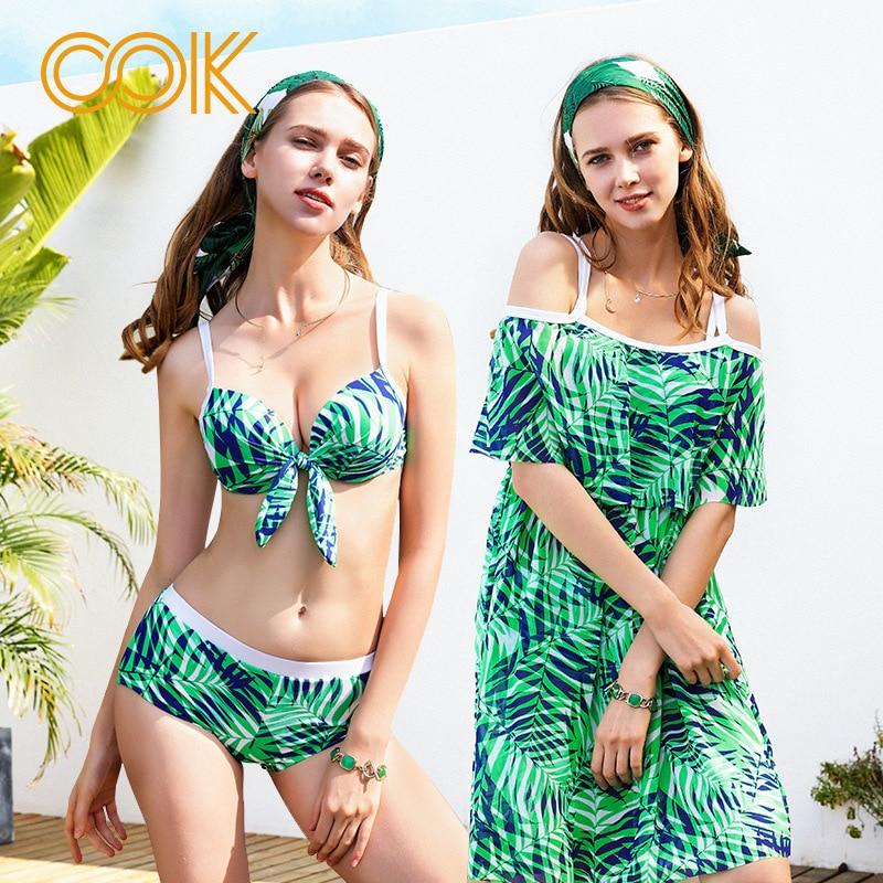 3 Pcs/ensemble Bikini 2018 Nouveau Sexy Imprimé floral Liée Strap Maillots De Bain Femmes Maillot de Bain Vert Feuille de Lotus Bikini Ensemble Maillot de Bain Avec blouse