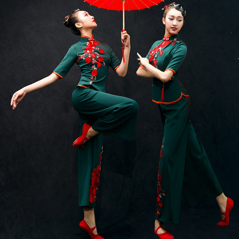 Chinese folk dance costume clothing hanfu ancient fan dance traditional Chinese dance costumes Stage dance wear AA4503