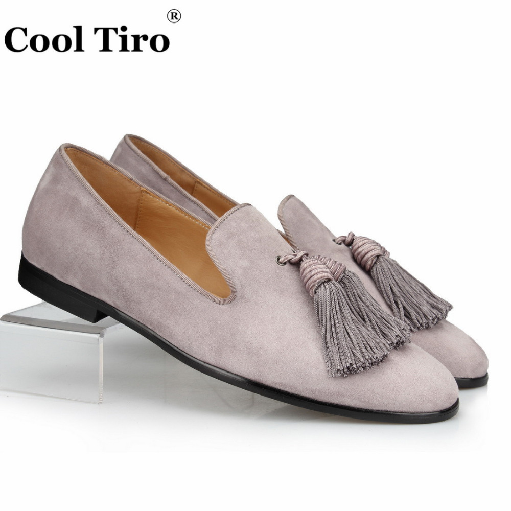 9adf0c2d1ac COOL TIRO Grey Suede Tassels Loafers Men Moccasins Slippers Genuine Leather  Dress Shoes Formal Male s Flat Men s Casual Shoes