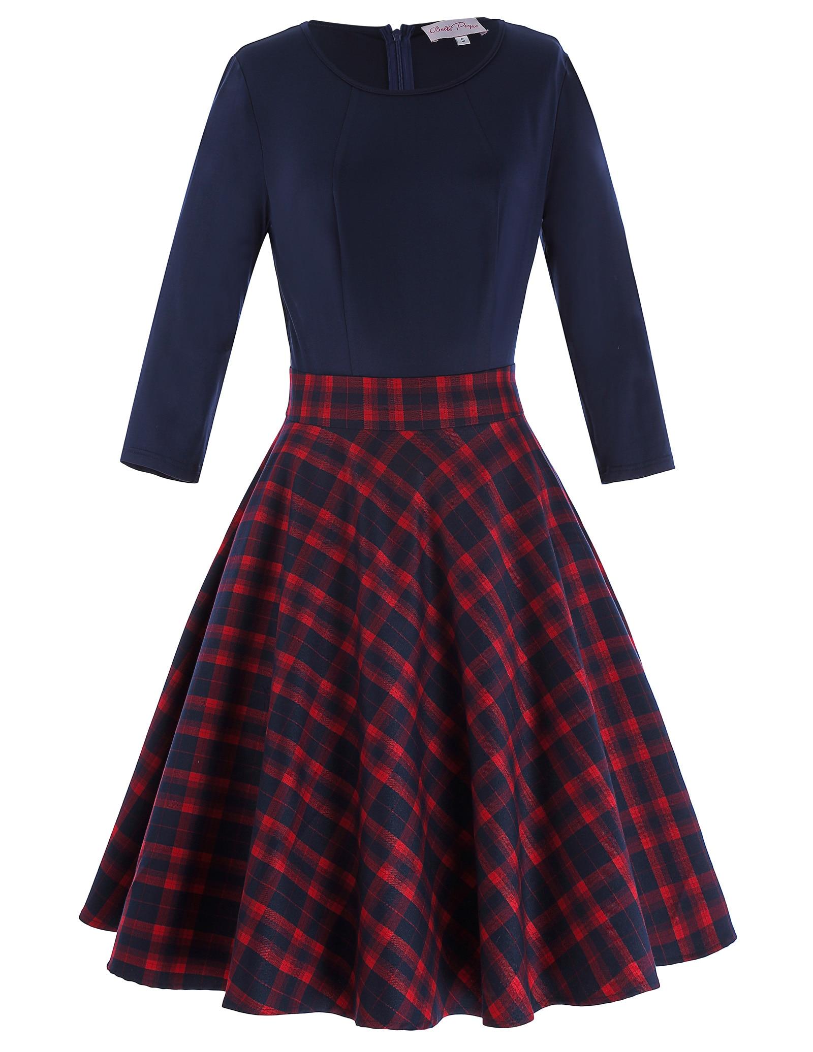 New Women/'s Ladies Long Sleeve Jersey Tartan Swing Skater Dress Top Size 8-28