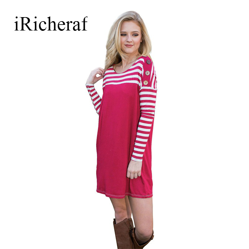 IRicheraf Femmes Lâche Robe À Manches Longues Rayé Rose Rouge O-cou Bouton  Automne Casual Mini Robes Sexy Robe De Festa Feminina 0b90b005030