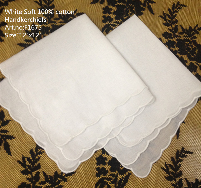 Set Of 120 Fashion Ladies Handkerchiefs 12-inch White Cotton Hankie Sweet Heart Hanky Lace Edging Wedding Handkerchief For Lover