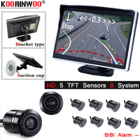Koorinwoo Dynamic Trajectory 22M Parktronic Car Parking Sensor Glass Sucker 5 Display Buzzer Jalousie Car Reverse camera 18.5MM