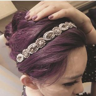 1 pcs/lot Free Shipping Fashion Retro Style Women HairBand Crystal Rhinestone Gray Beads Headband Hair Band xth147 Чокер