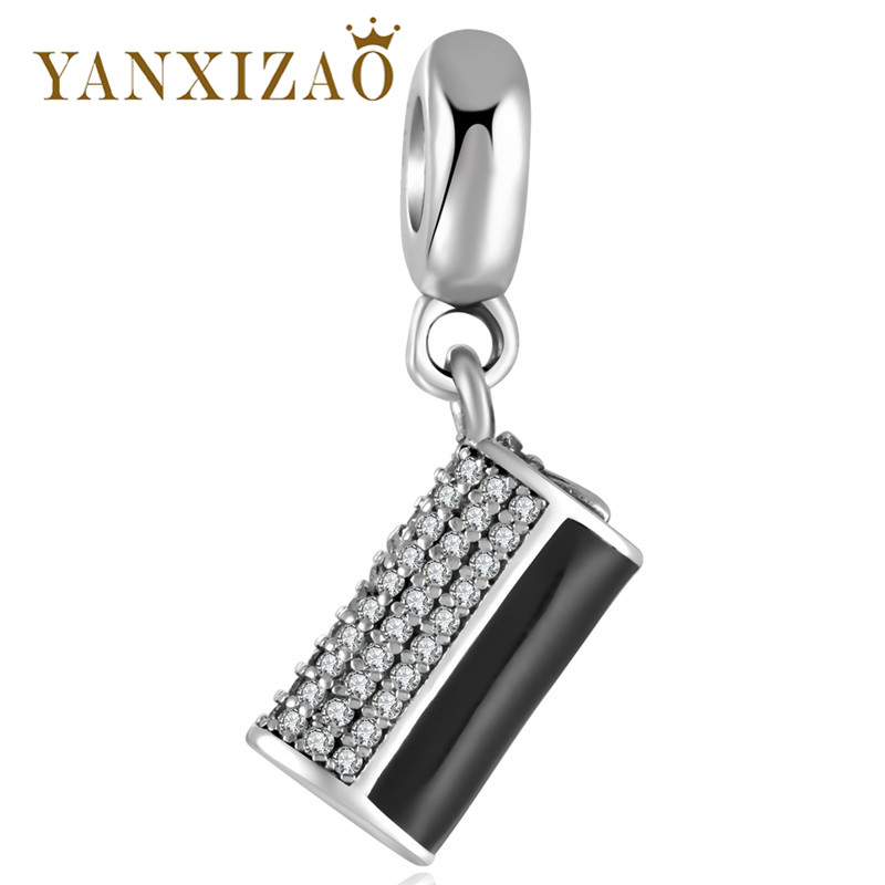 Yanxizao Silver 925 European CZ Charm Beads Fit Pandora Style Zircon Cylinder Shape Bracelet Pendant Necklace Jewelry GW378