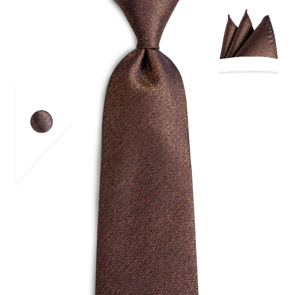 BarryWang 8cm Fashion Brown Solid Tie Classic Necktie Coffee Neck Tie 100% Silk Ties For Men Wedding Business Accessories N-7136