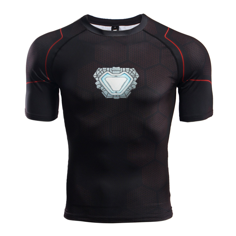 Avengers 3 raglan sleeve compression shirts iron man 3d for Compressed promotional t shirts