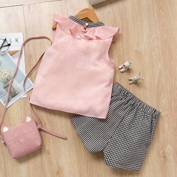 Girls Clothing Sets 2019 Brand Summer Fashion Chiffon short sleeve T-shirt + shorts Infant girls outfits kids clothes roupa infa 2