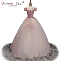 VARBOO ELSA Cute Romantic Evening Dress 2018 Princess Pink Tulle Ball Gown Dress Lace Appliques Sexy