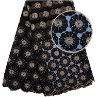 Black Color 3D Lace Fabric With Stones 3D Flower Embroidered Lace Appliques French Tulle Lace Fabric