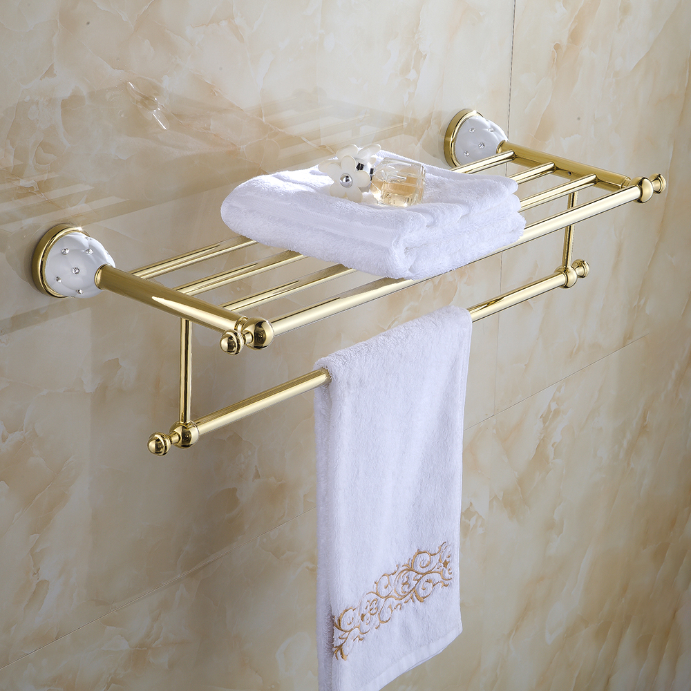 Bathroom Shelves 2 Tier Solid Brass Gold Towel Racks Bath Shelf ...