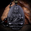 Natural Black Obsidian Carved Ruyi Guanyin Buddha Pendants Fit Fashion Sweater Necklace Jewelry Making
