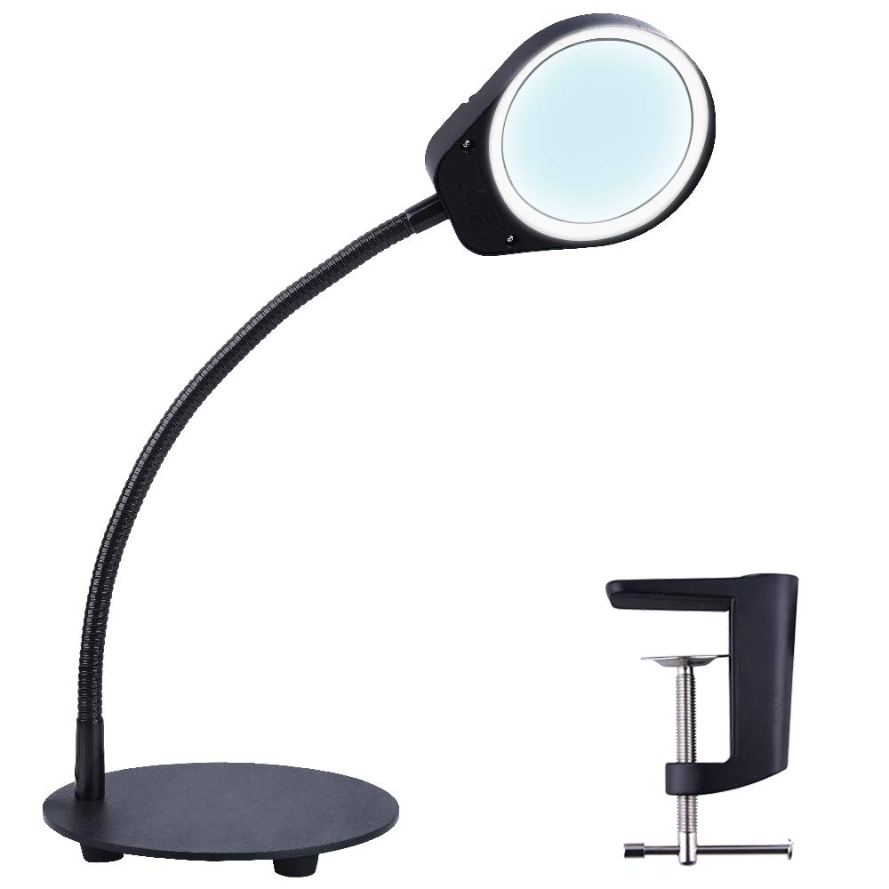 10X 15X LED Magnifying Clamp Lamp MAGNIFIER GLASS WITH LIGHT DESK LED LAMP 2 IN 1