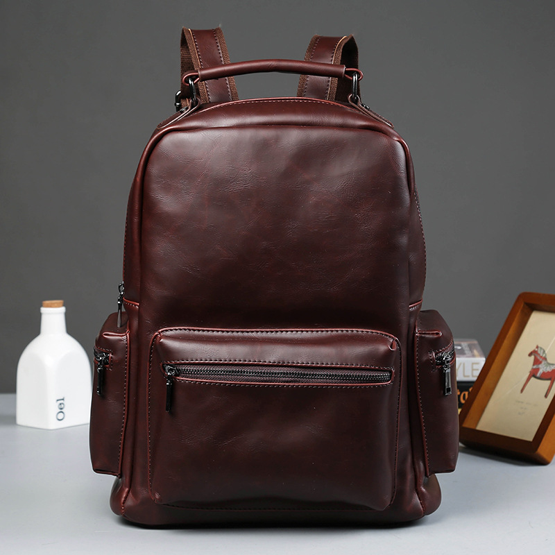 Men's Leather Backpack Schoolbag Fashion Solid Leather Backpack ...