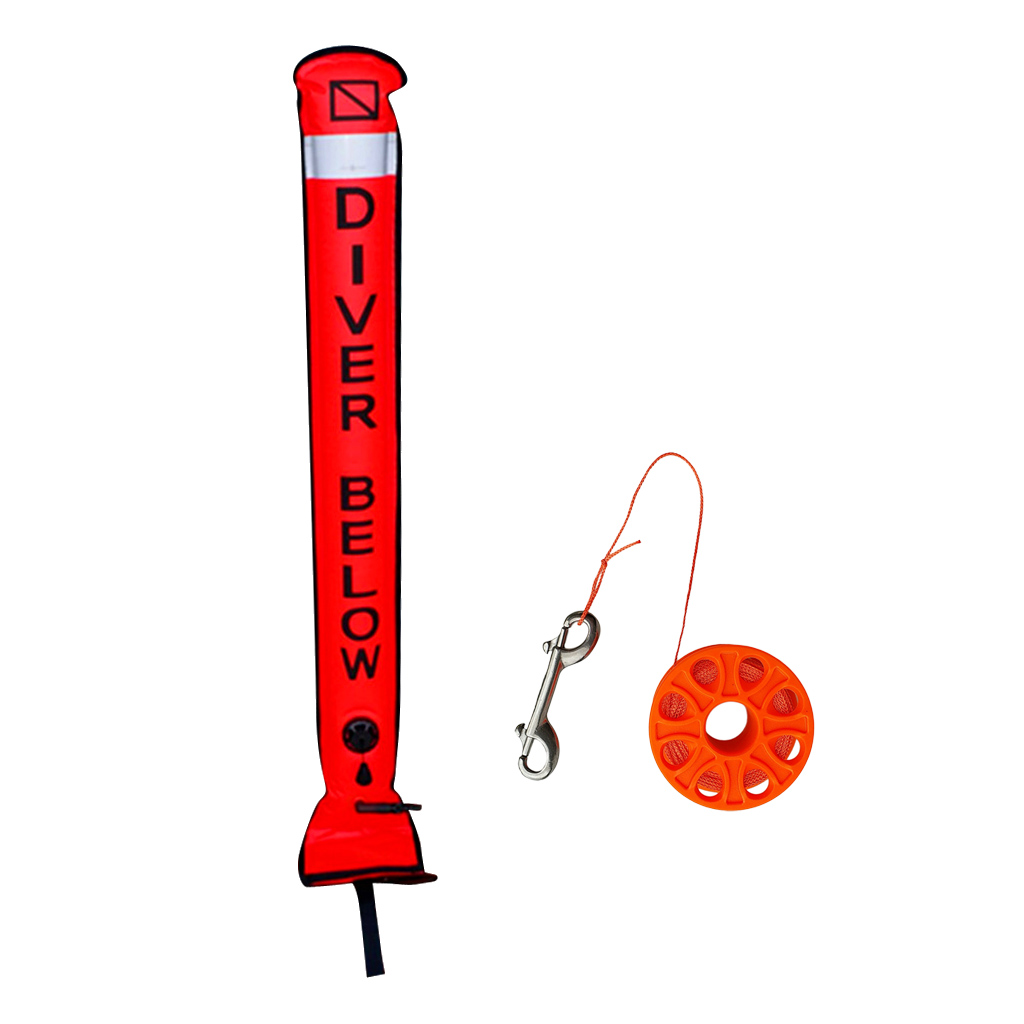Bouée de marqueur de Surface de plongée avec bande réfléchissante de sécurité drapeau de plongée bobine de doigt avec ligne de 15 m pour les Sports sous-marins