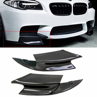 1 Pair Real Carbon Fiber Front Bumper Splitter Lip Fin Air Knife Auto Body For BMW F10 M5 2012 2016 R Style Diffuse Splitters