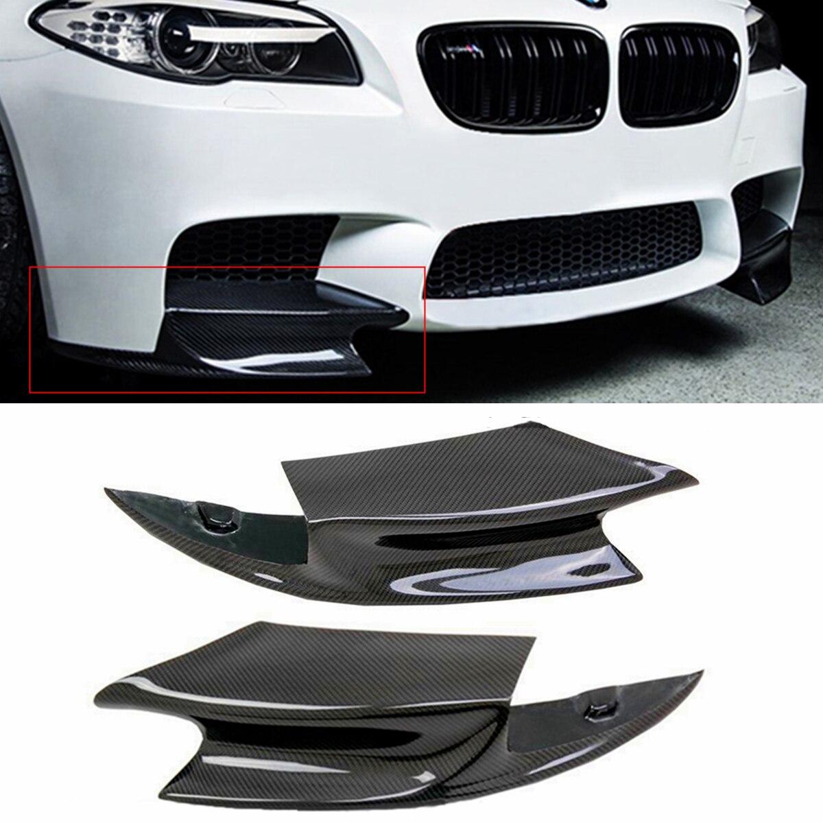 1 paia Reale In Fibra di Carbonio Labbro Anteriore Paraurti Splitter Fin Lama D'aria Auto Del Corpo Per BMW F10 M5 2012- 2016 R Stile Diffusa Splitter