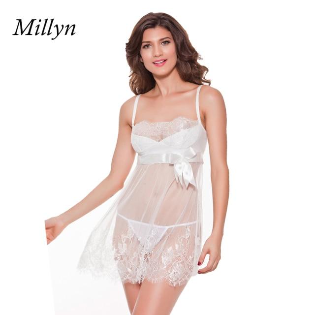 a179dd34ba Satin Women Sexy Lingerie Hot Nightwear Sleepwear Nightie Negligee  Nightgown Costume BabyDolls WHITE bridal lingerie