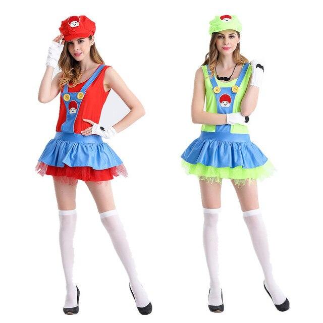 super mario halloween cosplay costume super mario luigi costume mario dress halloween costume for womn free