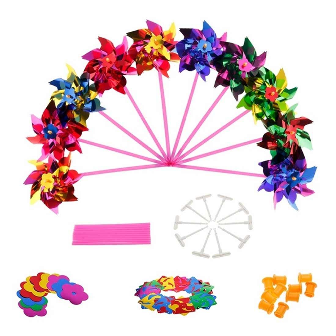 10pcs Garden Lawn Party Decor Toy Gift Boys Girls Plastic Windmill Pinwheel Wind Spinner Kids