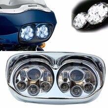 """הגעה חדשה 5.75 """"Moto כביש Glide LED פנס להארלי led פנסי גבוהה נמוך נורות אופנוע led פנסים"""