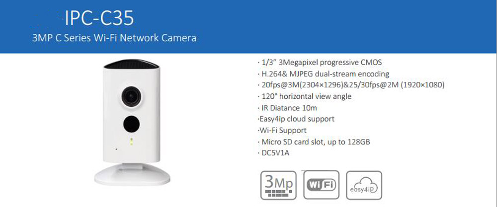 Free Shipping DAHUA WIFI Camera CCTV 3MP HD C series Wi-Fi Camera with 10M IR Indoor IP Camera Without Logo  IPC-C35 wifi ipc 720p 1280 720p household camera onvif with allbrand camera free shipping
