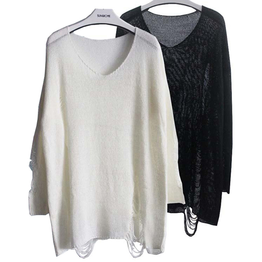 Colysmo Women's Batwing Sleeve Destroyed Ripped Slouchy Sweater Pullover Hollow Out Loose Fit Jumper Tops Knitwear SW125