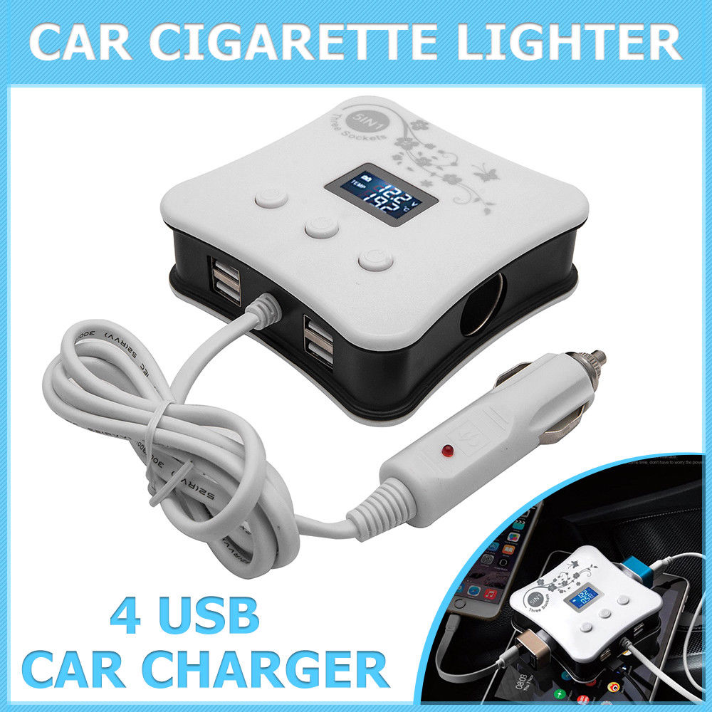 3Way Triple <font><b>Car</b></font> Multi <font><b>Cigarette</b></font> Lighter Socket Splitter <font><b>Car</b></font> <font><b>Charger</b></font> <font><b>Cigarette</b></font> Lighter LED Light+4 USB DC <font><b>12V</b></font> <font><b>charger</b></font> image