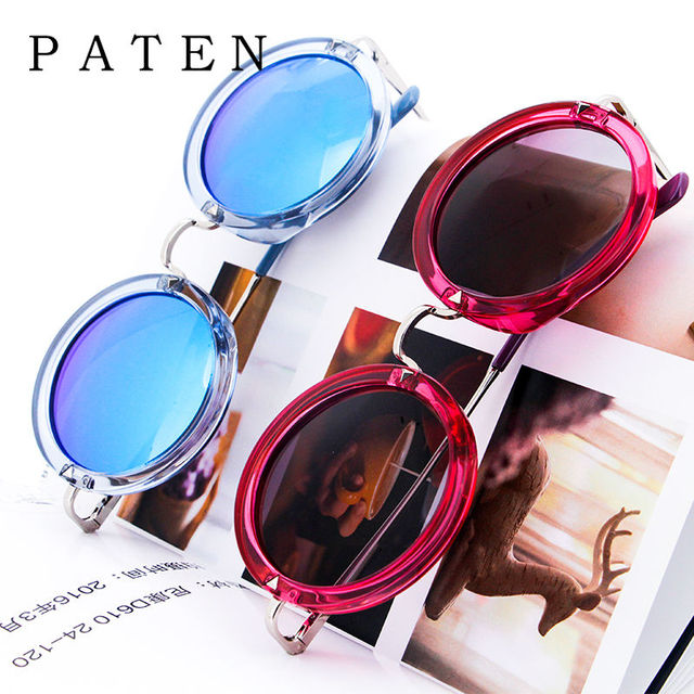 e3183a0bd8 Polarized Round Sunglasses Women Metal Pink Blue color Transparent Glasses  for types of faces Flat Gradient Tinted Sunshades USA