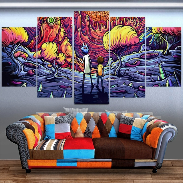 HD Prints 5 Pieces Canvas Pictures For Living Room Home Decor Framework Rick And Morty Paintings Animation Comic Poster Wall Art