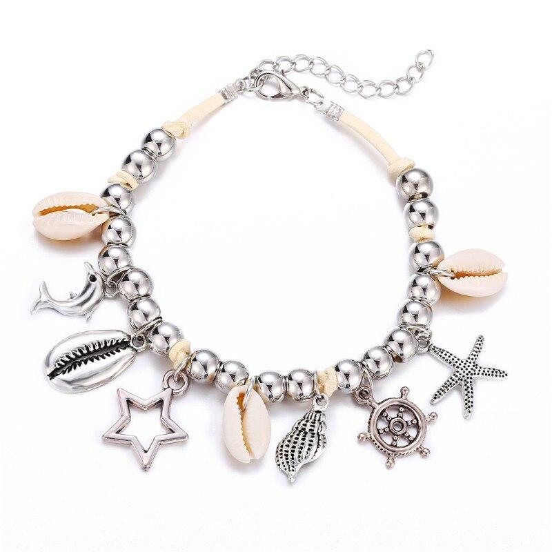 Shell Starfish Dolphin Star Pendant Anklets For Women Stone Beads Shell Bracelet Anklet Bohemian Bracelets On Leg Beach Jewelry