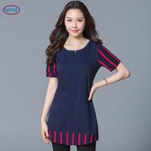 NFIVE Brand 2017 New Fashion Korean Women Large Size 4xl T-shirt Short Sleeved Striped Loose Stitching Women's Summer T Shirt