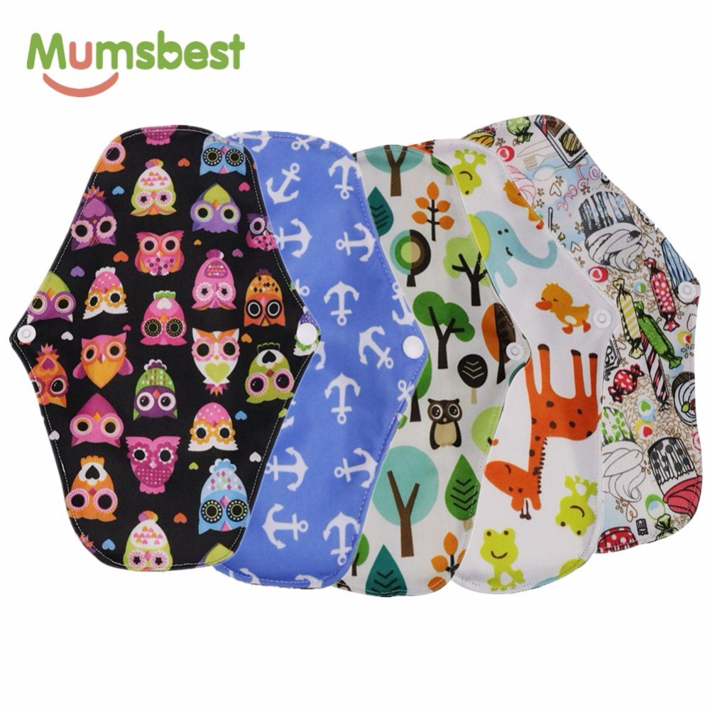 [Mumsbest] 5PCS Bamboo Charcoal Cloth Maternity Pads Menstrual Napkin Washable Waterproof Panty Liners Physiological Pads