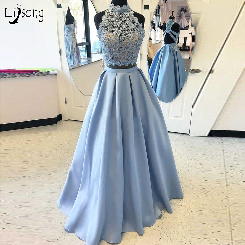 Sky Blue 2 Pieces Sets Lace Short Top Pleated A-line Dress Back Open For Girl Homecoming Party Prom Maxi Gowns Custom Made Color